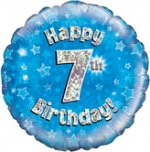 18 Inch Happy 7th Birthday Blue Foil Balloon