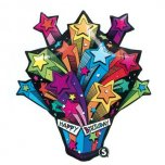 Shooting Stars Birthday Present Supershape Foil