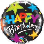 18 Inch Birthday Brilliant Stars Black Foil