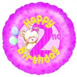 18 Inch 2Nd Birthday - Pink Teddies Foil