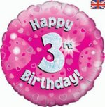 18 Inch Happy 3rd Birthday Pink Foil Balloon