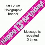 Pink 13th Happy Birthday Banner