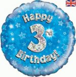 18 Inch Happy 3rd Birthday Blue Foil Balloon