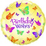 "Birthday Wishes Butterflies 18"" Foil"