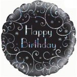 "Birthday Swirls Black 18"" Foil Balloon"