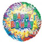 "Happy Birthday Swirls 18"" Foil"