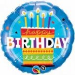 "Blue Birthday Cake Circle 18"" Foil"