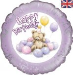 "Happy birthday Lilac Bear 18"" Foil"