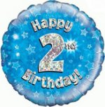 18 Inch Happy 2nd Birthday Blue Foil Balloon