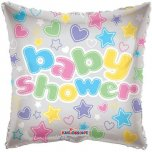 "Clear Square Baby Shower 18"" Foil"