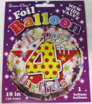 "Happy 4th Birthday Polka Dot 18"" Foil"