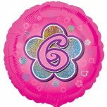 "Age 6 Pink Round 18"" Foil"