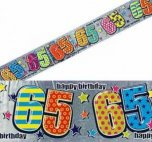 Multi Coloured Patterned 65th Birthday Banner