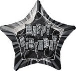 20 inch Happy Birthday Birthday Glitz Black Foil