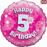 18 Inch Happy 5th Birthday Pink Foil Balloon