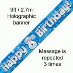 Blue 8th Happy Birthday Banner
