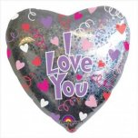 "32"" I Love You Hearts And Swirls Balloon"