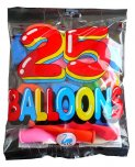 25 Pack Multi coloured Balloons