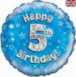 18 Inch Happy 5th Birthday Blue Foil Balloon