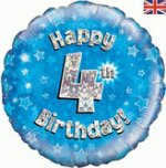 18 Inch Happy 4th Birthday Blue Foil Balloon
