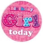 Pink Birthday Girl Jumbo Badge