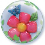 24 Inch Leaves Flower Double Bubble Balloon