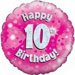 "Pink Happy 10th Birthday 18"" Foil"