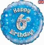 18 Inch Happy 6th Birthday Blue Foil Balloon