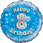 18 Inch Happy 8th Birthday Blue Foil Balloon