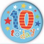 Blue 10 Today Jumbo Badge