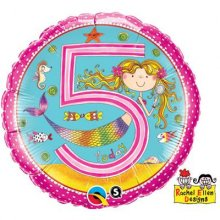 "Age 5 Mermaid Polka Dots 18"" Foil"