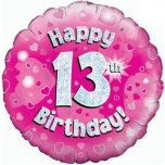 18 Inch Happy 13Th Birthday Pink Holographic Foil
