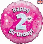 18 Inch Happy 2nd Birthday Pink Foil Balloon