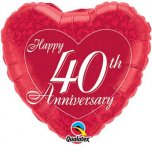 Happy 40th Anniversary Heart Foil