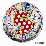 "Happy 5th Birthday Polka Dot 18"" Foil Balloon"