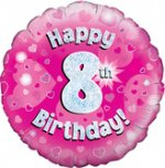 18 Inch Happy 8th Birthday Pink Foil Balloon