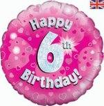 18 Inch Happy 6th Birthday Pink Foil Balloon