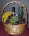 Fruit Basket with Prosecco and Champagne Glasses