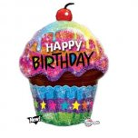 Holographic Birthday Dazzling Cupcake Supershape Foil