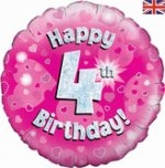 18 Inch Happy 4th Birthday Pink Foil Balloon