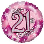"Happy 21st Birthday Pink 18"" Foil"