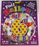 "Multi Coloured Happy 6th Birthday 18"" Foil"