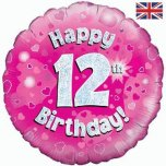 "Pink Round Happy 12th Birthday 18"" Foil"