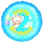 18 Inch 2nd Birthday - Blue Teddies Foil