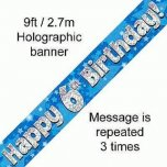 Happy 6th Birthday Banner Blue
